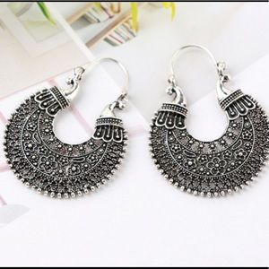 Jewelry - Boho Gypsy Style Large Metal Earrings